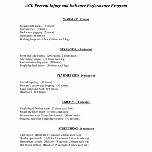 ACL Prevent Injury and Enhance Performance Program